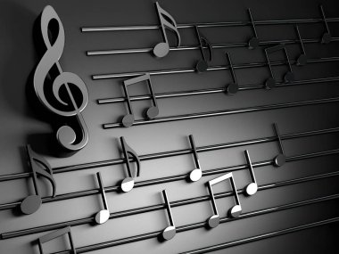 3d illustration of musical notes and musical signs of abstract music sheet.Songs and melody concept.Music background design.Musical writing