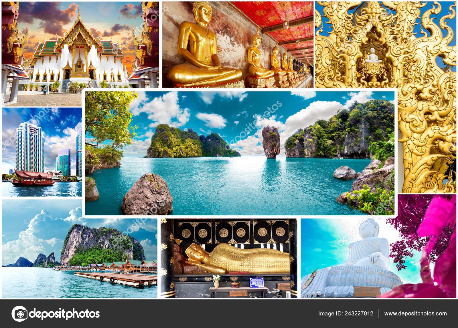 Thailand Phuket Collage Scenery Landscape Travel Concept Design Vacation Holidays Stock Photo Image By C Carloscastilla 243227012