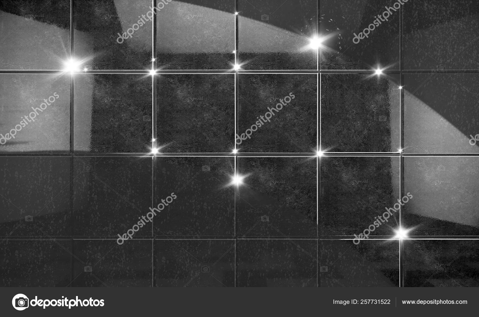 Clean Black Tile Wall Bathroom Background 3d Illustration Stock