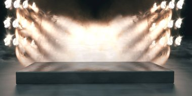 Musical background.Set of lights. Concept of live music and concerts.3d illustration.Stage lights and fog or misty in the dark.