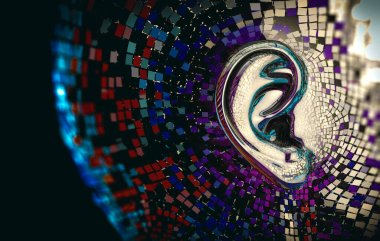 Musical and audio concept background.Ear detail,3d illustration