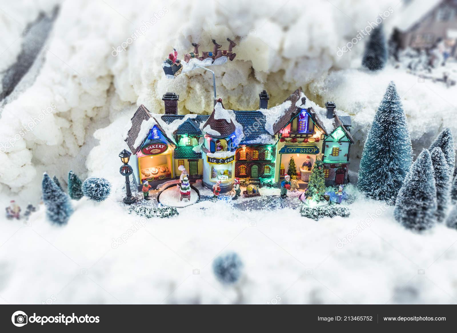 Miniature Christmas Village.Miniature Christmas Village Winter Snow Model Landscape Xmas