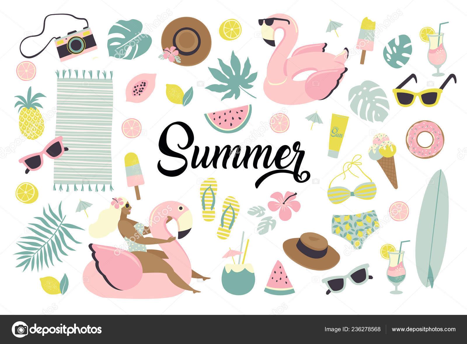 5ec418cd24 Conjunto de verano lindo iconos alimentos, bebidas, helado, frutas, gafas  de sol, hojas de palmera y piscina inflable flamingo anillo– Ilustración de  Stock