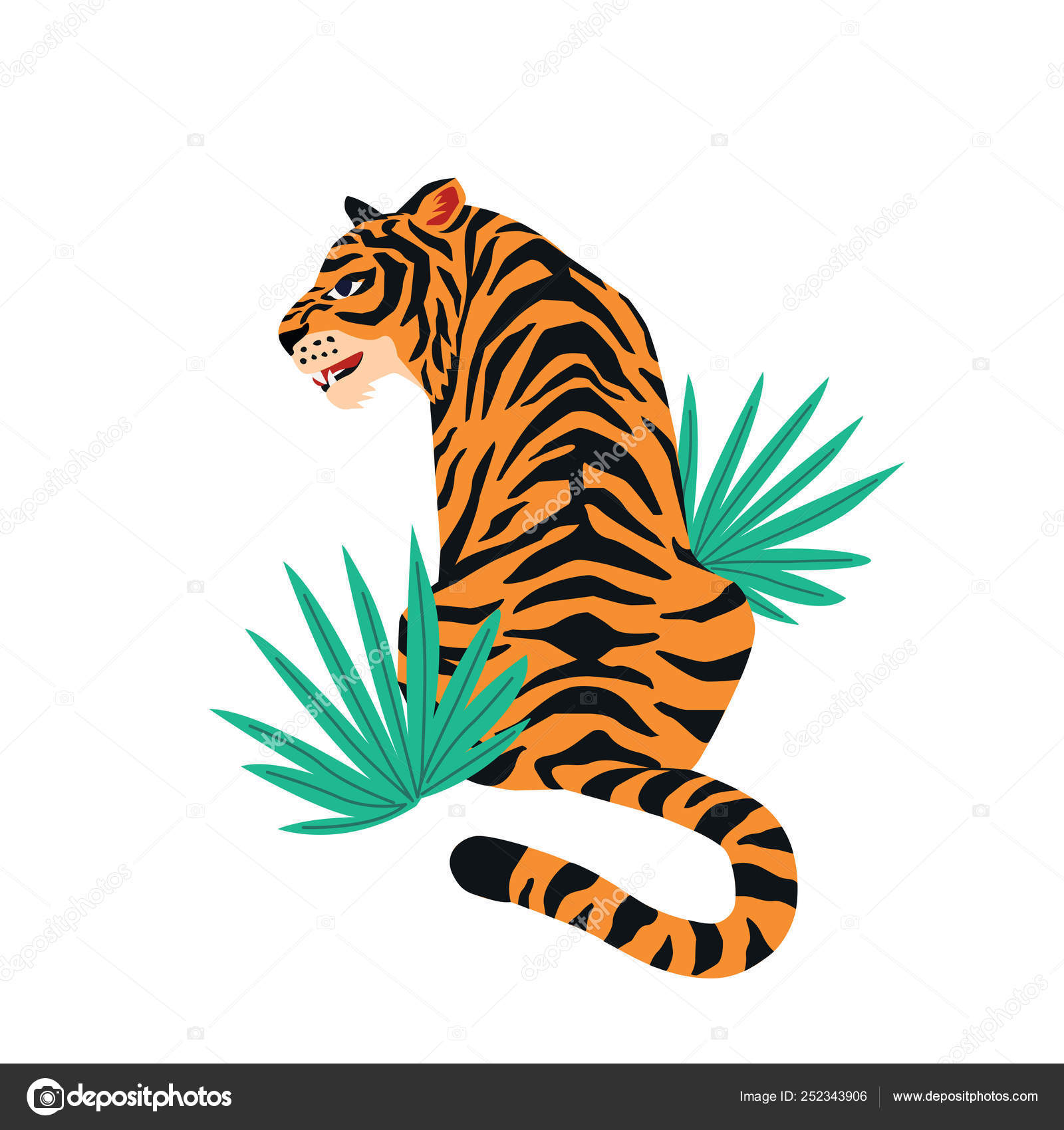 Vector Card With Cute Tiger On White Background And Tropical Leaves Beautiful Animal Print Design For T Shirt Stock Vector Image By C Angelinabambina 252343906