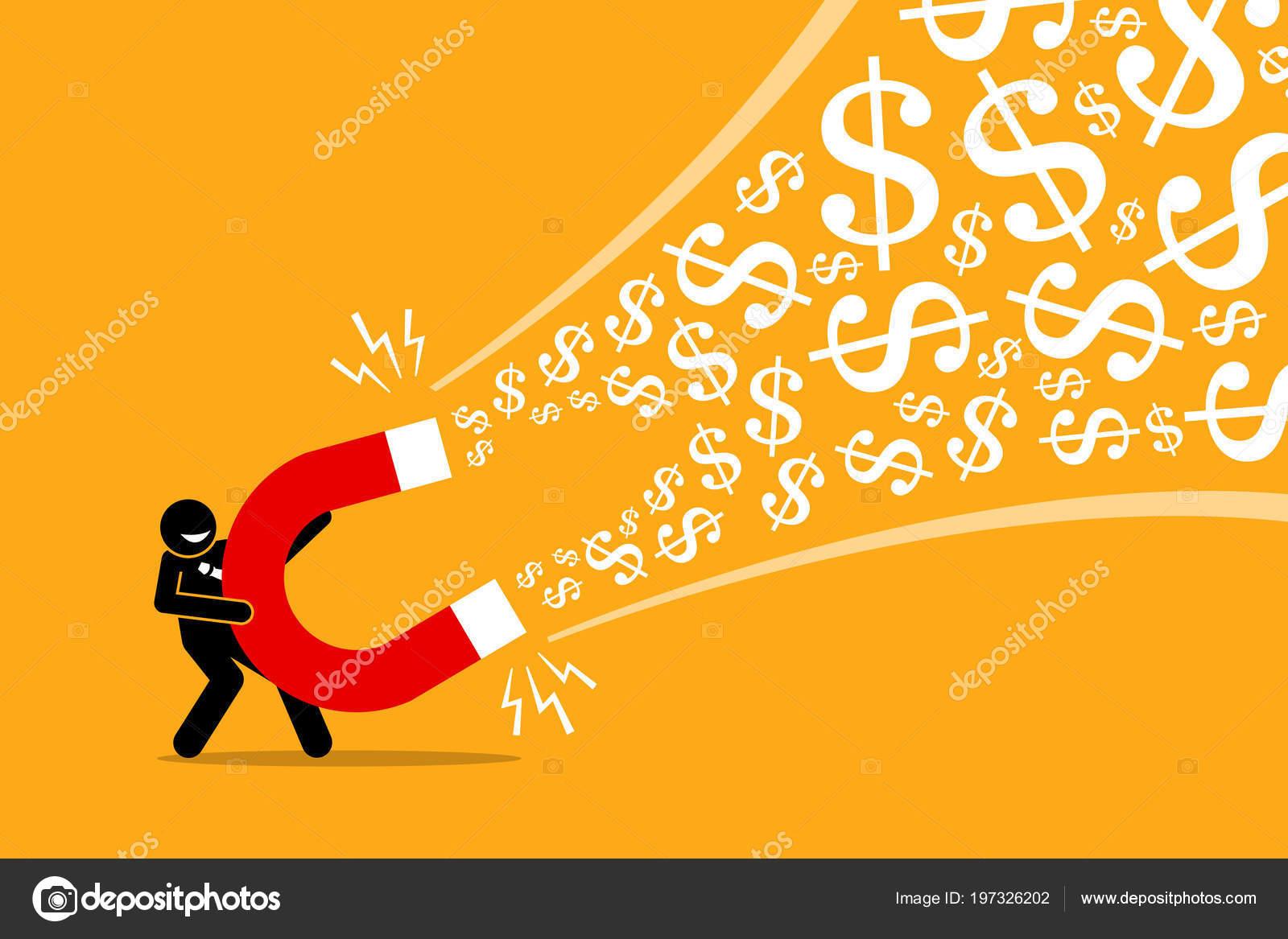 businessman using big magnet attract money vector artwork