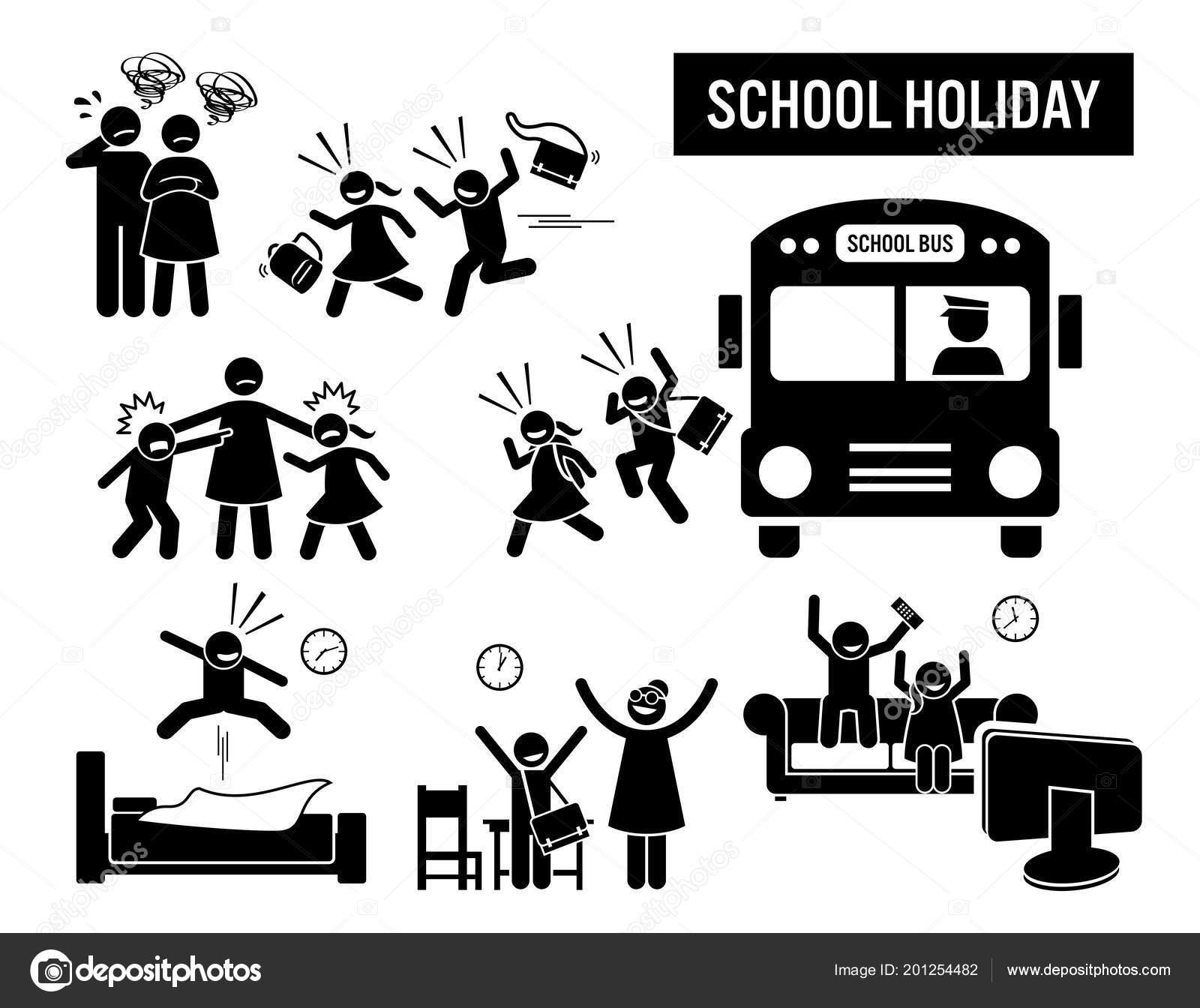 Vacanze Scolastiche Bambini Figura Stilizzata Pittogramma Raffigura