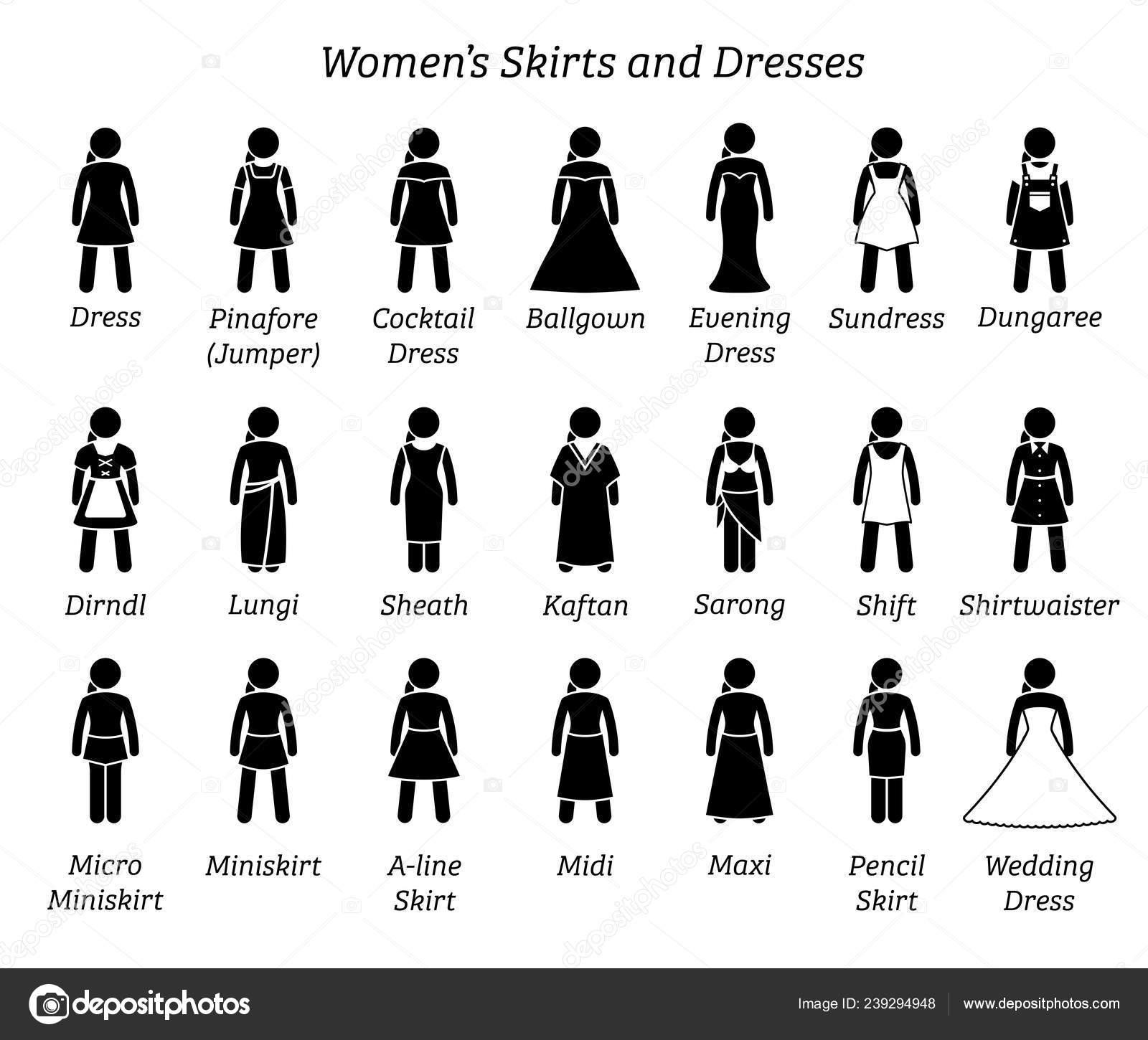 Reihe Damen Von Zeigen Und Kleider Strichmännchen Röcke Eine 4R5jLA3q