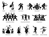 Photo Stage performer artists for musical, dance, and theater show. Pictogram depicts ballet, dancers, music band, pantomime, and singers.