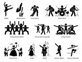 Divadelní umělci pro hudební, taneční a divadelní show. Piktogram zobrazuje balet, tanečníky, hudební kapelu, pantomima a zpěváky.