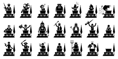 Different type of politician, president, prime minister, or ruler of a country giving speech. Artwork depicts the many kind of faces, characters, and personalities of a politician in the government.