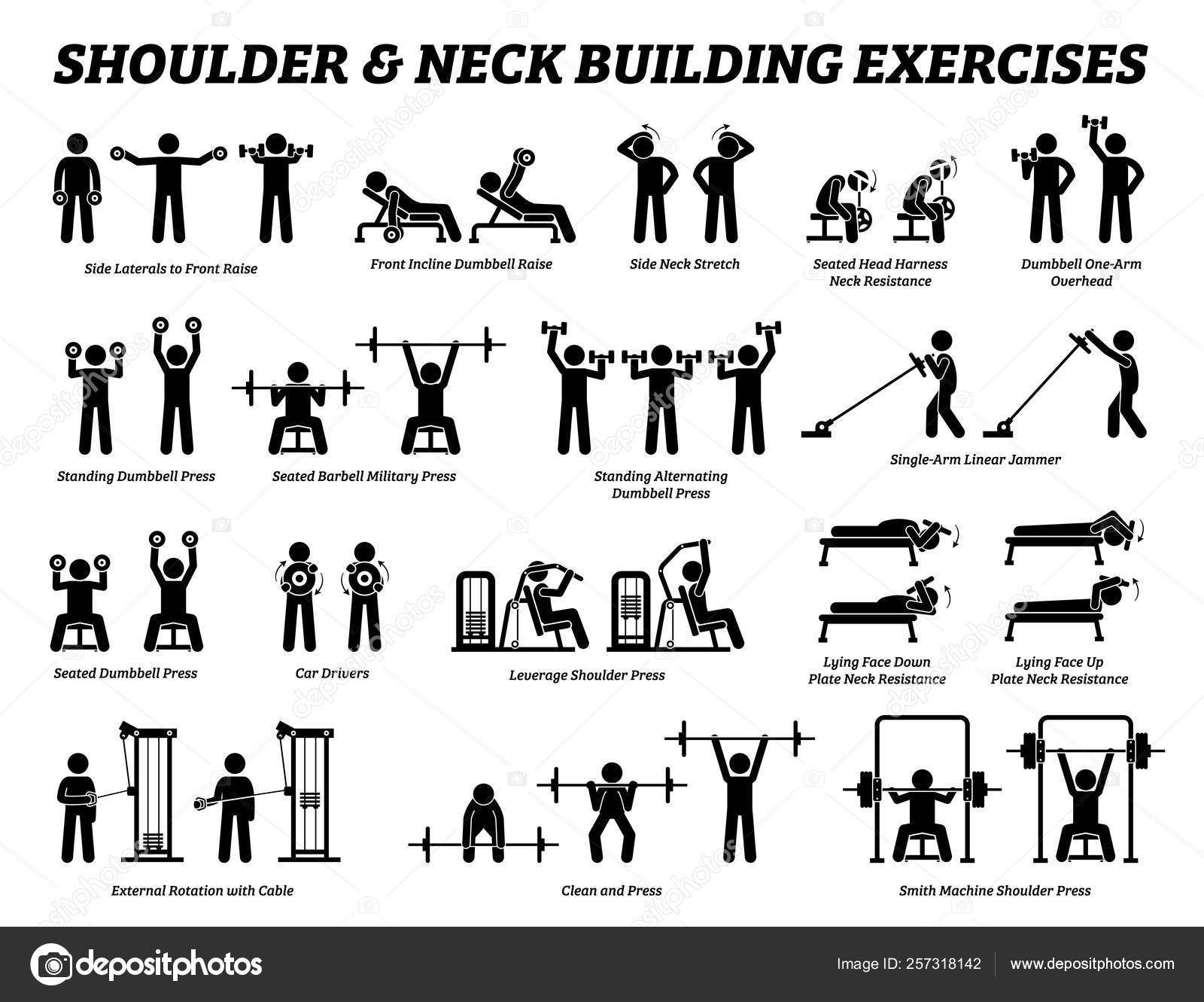 Pictures Shoulder Exercises Shoulder Neck Building Exercise Muscle Building Stick Figure Pictograms Set Stock Vector C Leremy 257318142