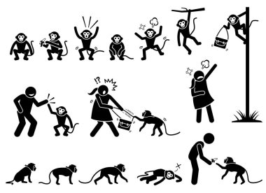 Human and monkey stick figure pictogram. Illustrations depict monkey actions and reactions such as eating, angry, climbing and walking. The naughty monkey also grab and steal woman handbag.
