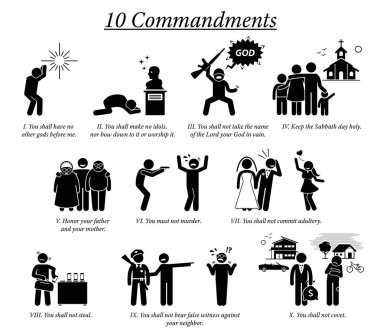 The 10 Commandment icons and pictogram. Illustration depict Ten Commandments teaching, beliefs, and moral value by Christian God religion.