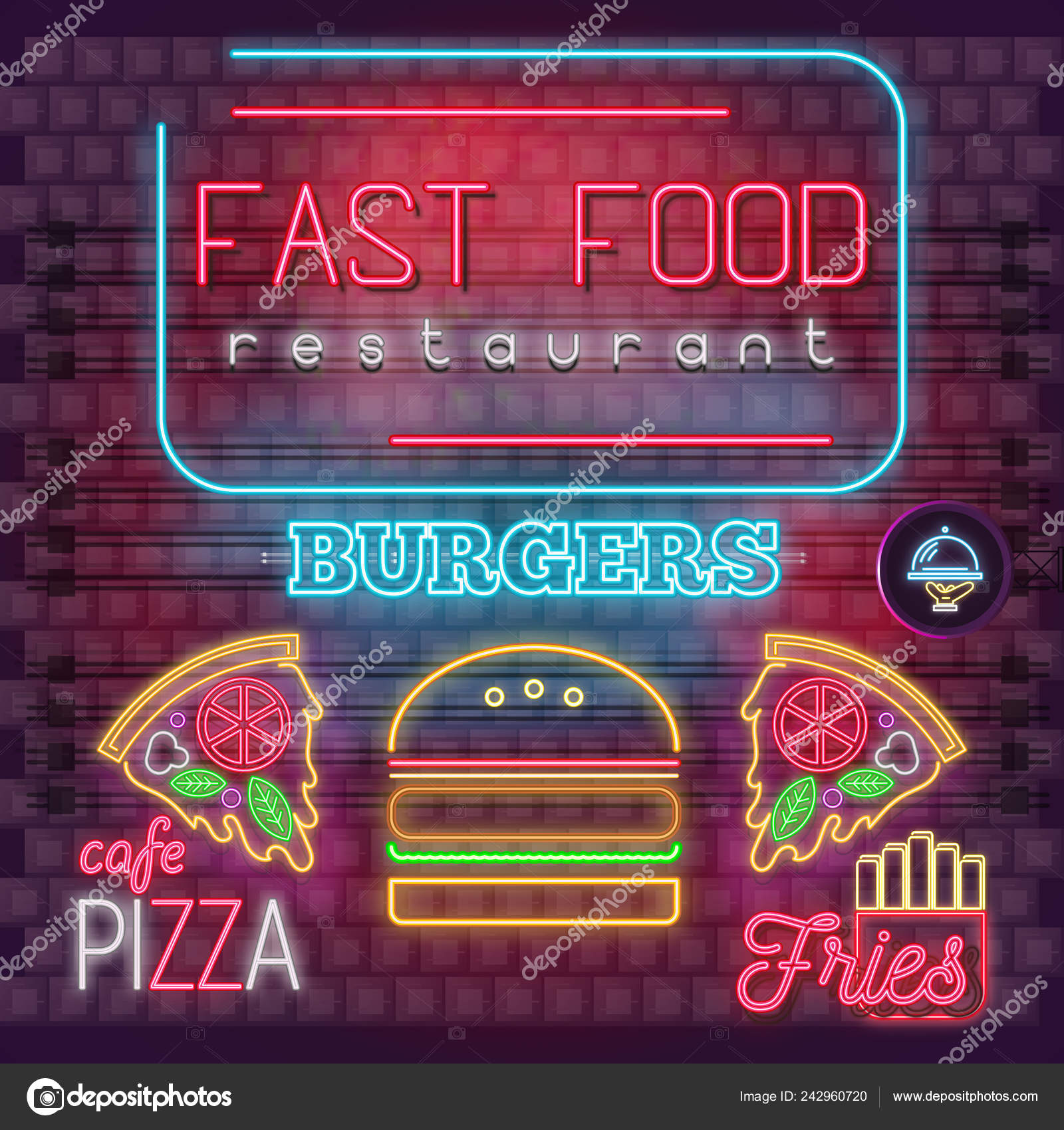 Modern Urban Design Neon Glowing Icons Fast Food Restaurant Bar Stock Vector C Elfivetrov 242960720