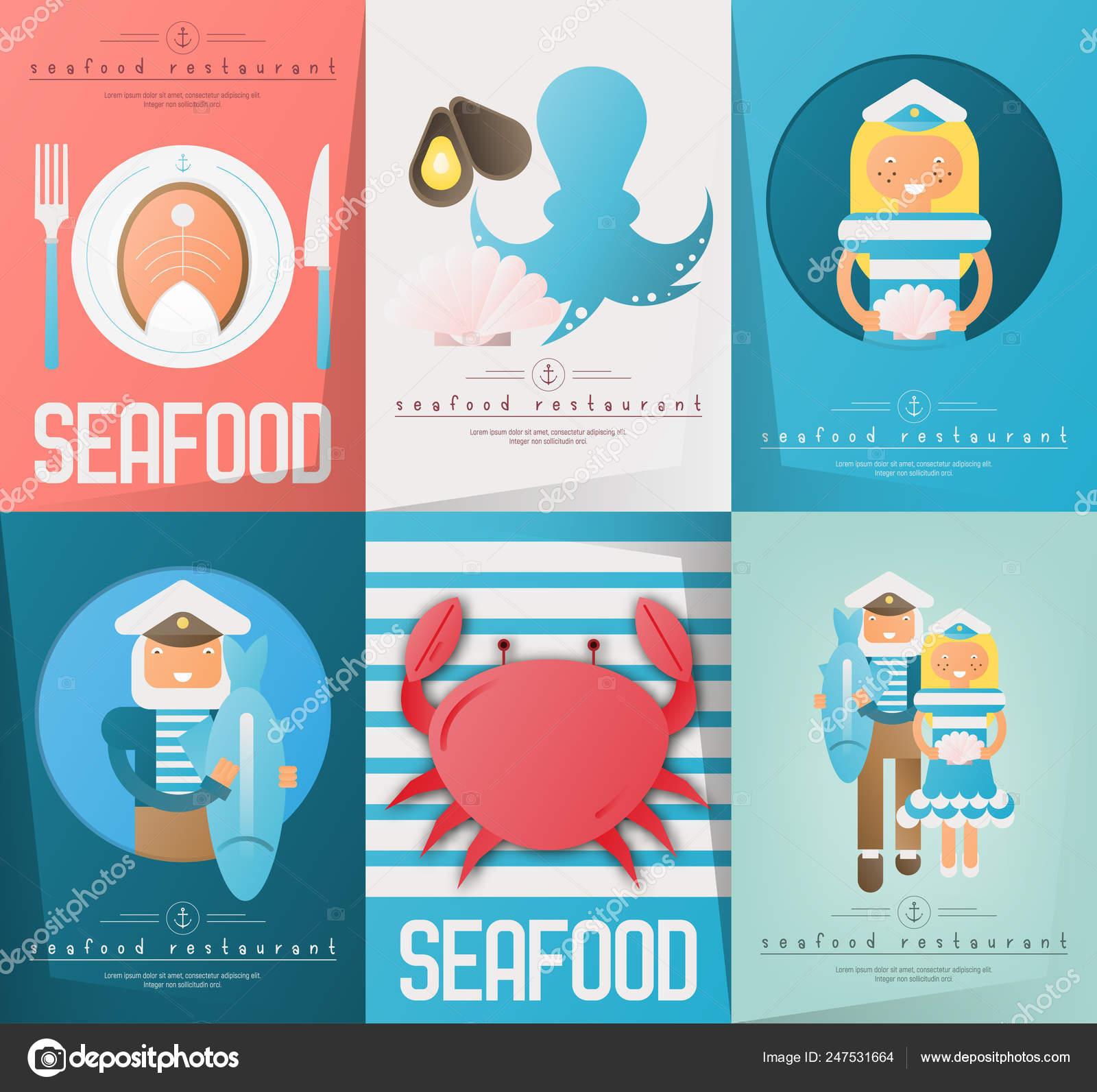 Seafood Restaurant Posters Set Stock Vector C Elfivetrov 247531664