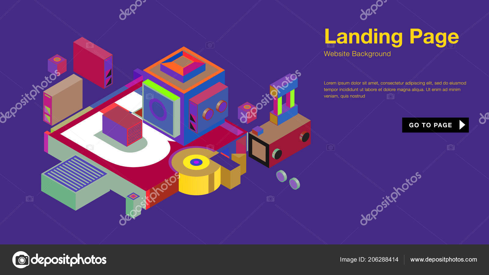 Colorful Isometric Website Background Template Trendy