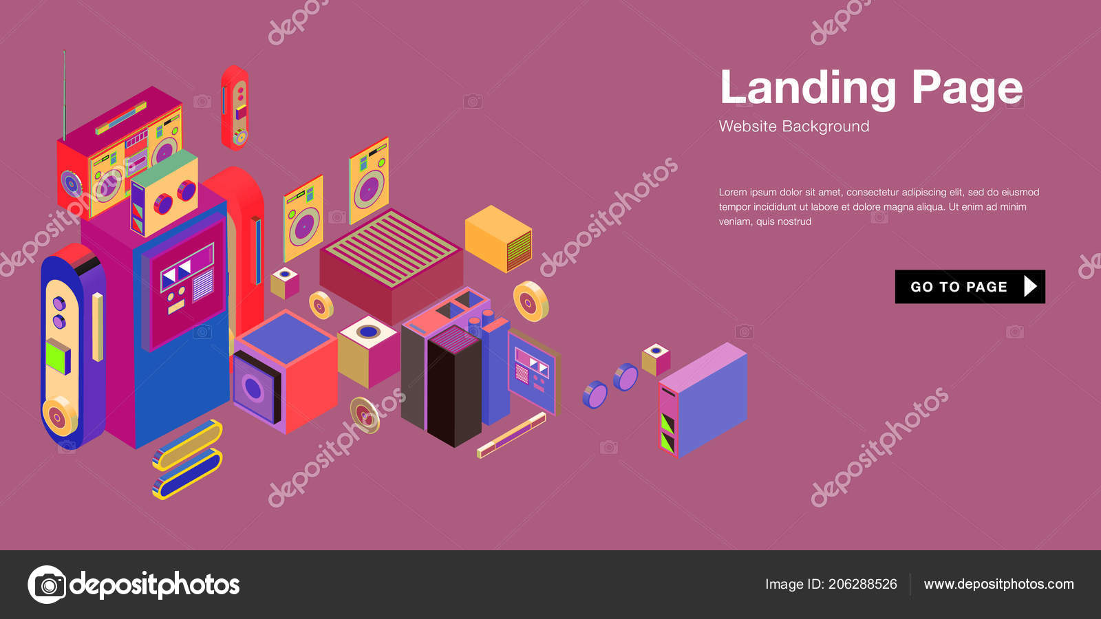 colorful isometric website background template trendy isometric