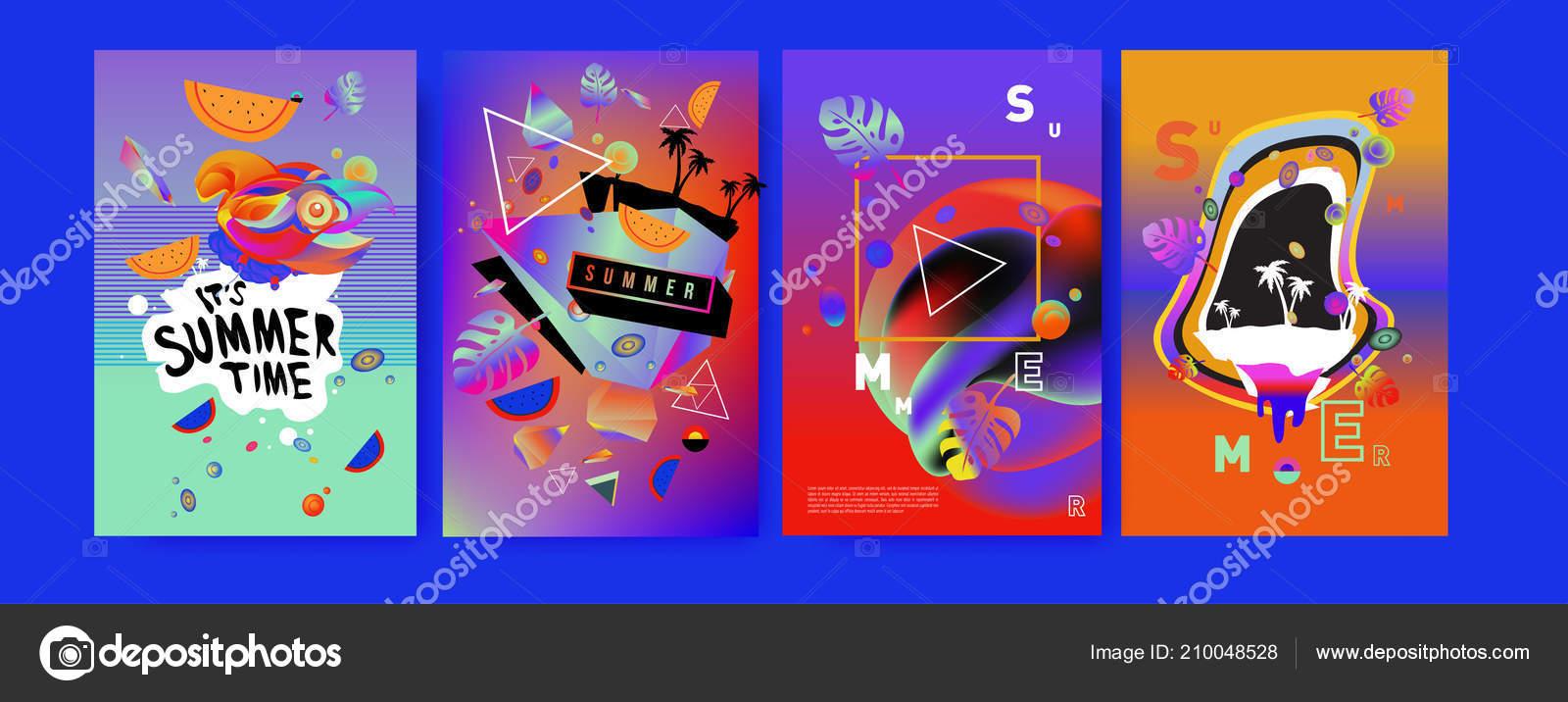 Poster Ete Colore Modele Conception Ete Tropical Couverture Elements Illustration Image Vectorielle Rebermant C 210048528