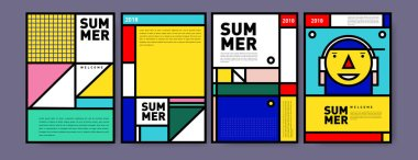 Summer colorful poster design template. Set of summer sale background and illustration. Minimalist design style for summer event poster and banner