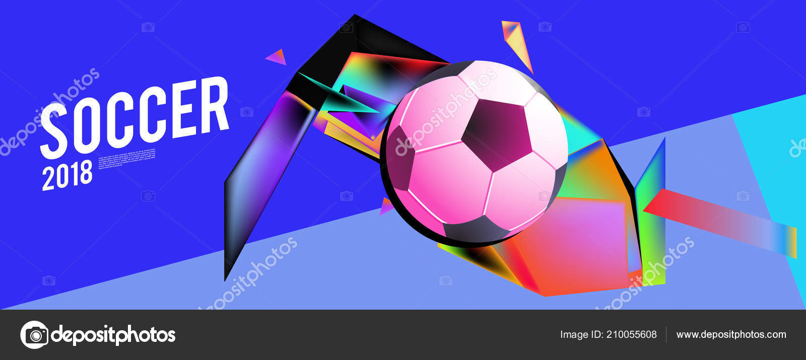 Layout Template Design Poster Soccer Event 2018 Trend Stock Vector
