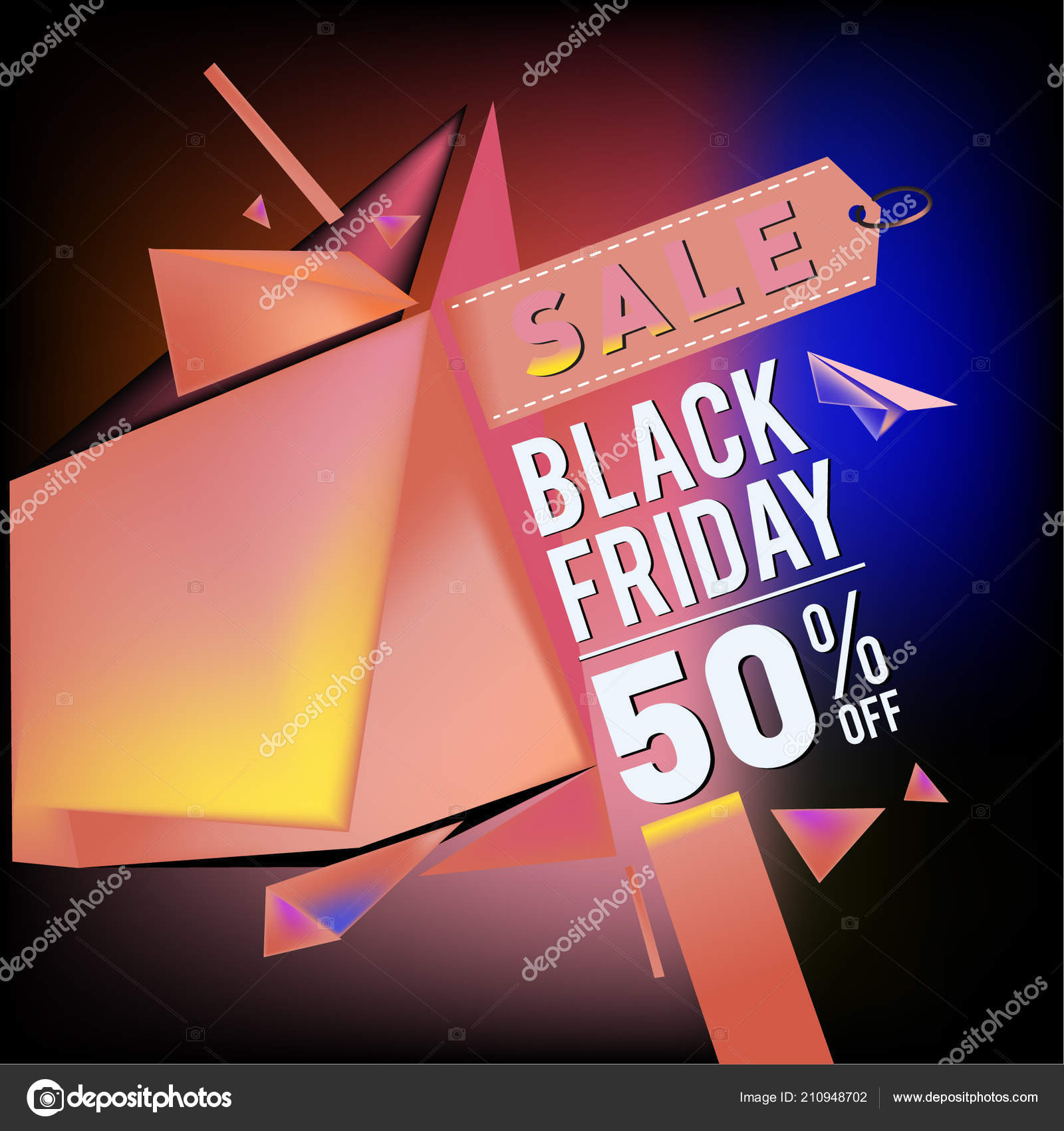 8b3eca1275 Black Friday Sale Poster Colorful Geometric Poster Design Template  Promotion — Stock Vector