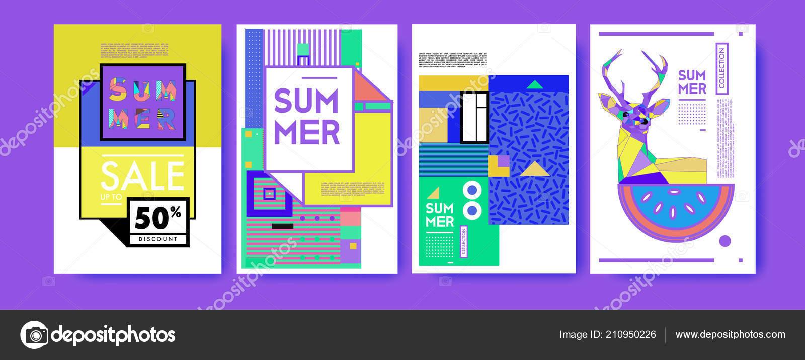 Summer Colorful Poster Design Template Set Sale Background Illustration Stock Vector