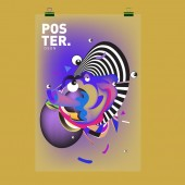 Titulní postava abstraktní barevné karikatura a šablona návrhu plakátu. 3D tvar přechodu Embryo a šablona vzor návrhu rozložení.