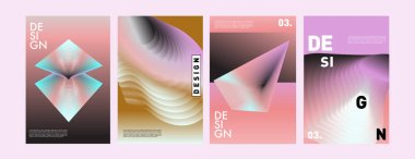 Colorful abstract liquid and fluid poster and cover design. Minimal geometric pattern gradients backgrounds