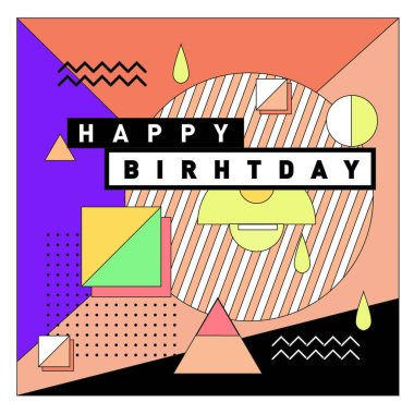 Happy Birthday Memphis style vector design for greeting cards and poster with colorful and retro abstract pattern. Design template for birthday celebration