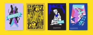 Vector set of music event poster design template. Rock, jazz, blues and hip hop poster design.