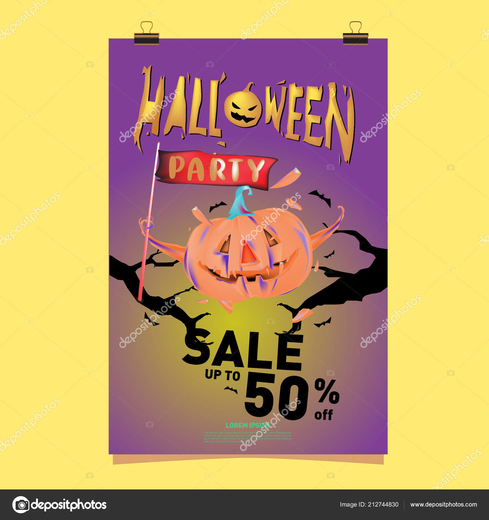 poster halloween sale party event vector template halloween fall