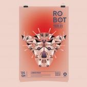 Vektorové ilustrace realistické Robot. Robota a toy šablona návrhu plakát festivalu.