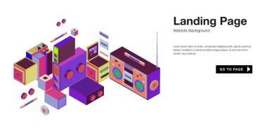 Colorful isometric 3d website background template. Trendy isometric illustration and banner layout design composition.