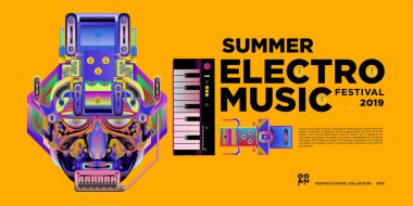 Vector summer electro music festival banner layout design template