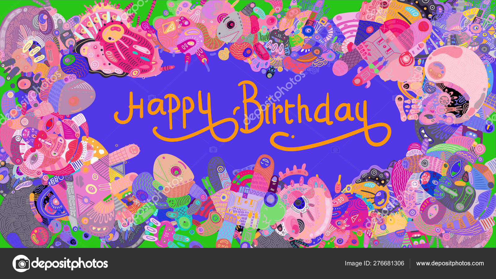Happy Birthday Greeting Card Abstract Doodle Illustration Background