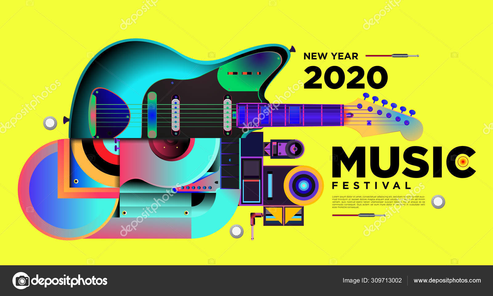Music Festival Illustration Design 2020 New Year Party Event