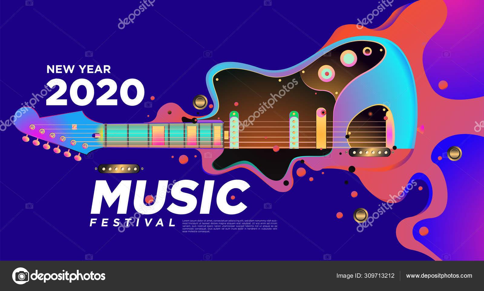 2020年新年会 イベントの音楽祭イラストデザイン音楽祭の背景と壁紙の