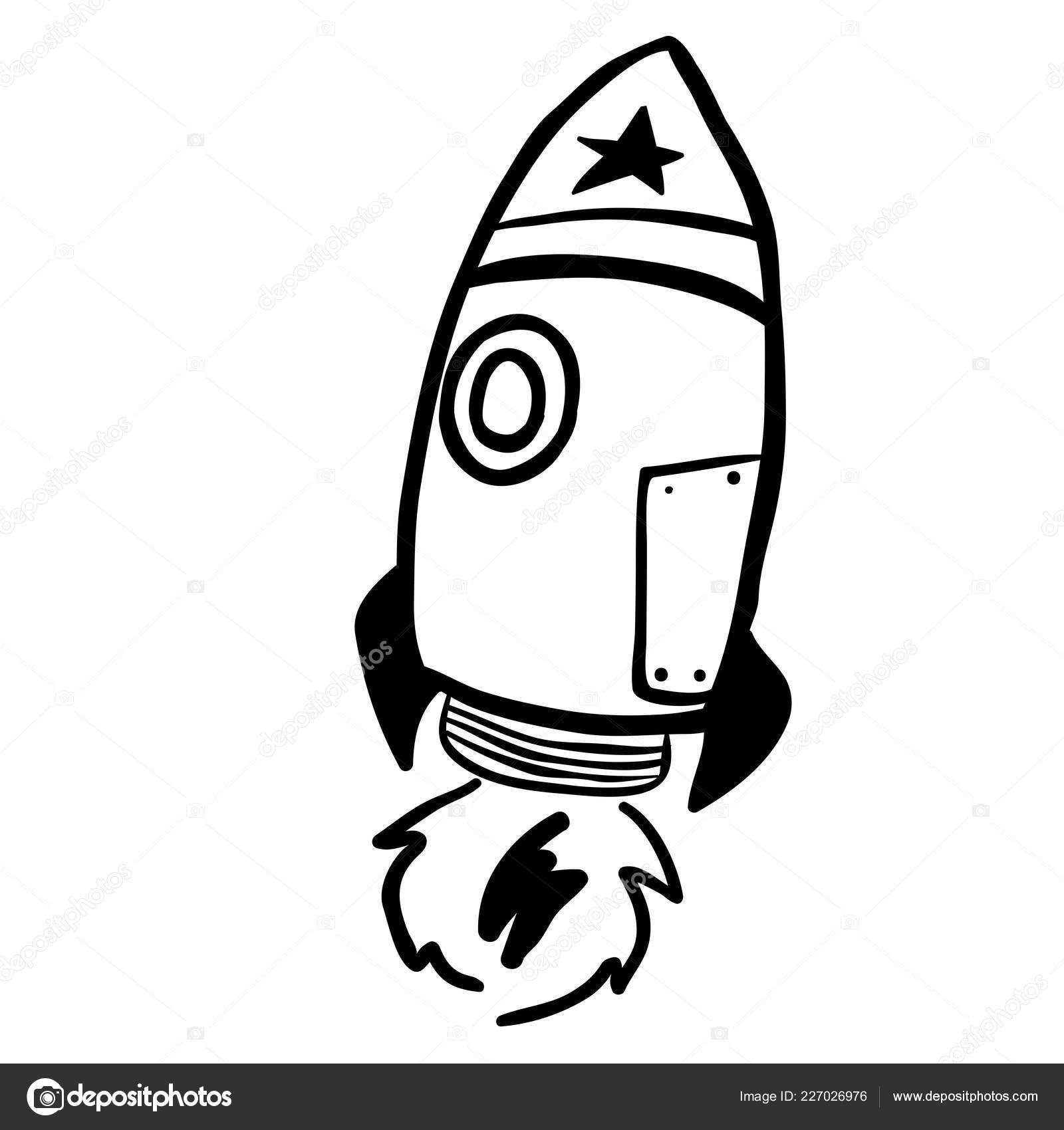 Dessin Animé Rocket Noir Blanc Simple Image Vectorielle