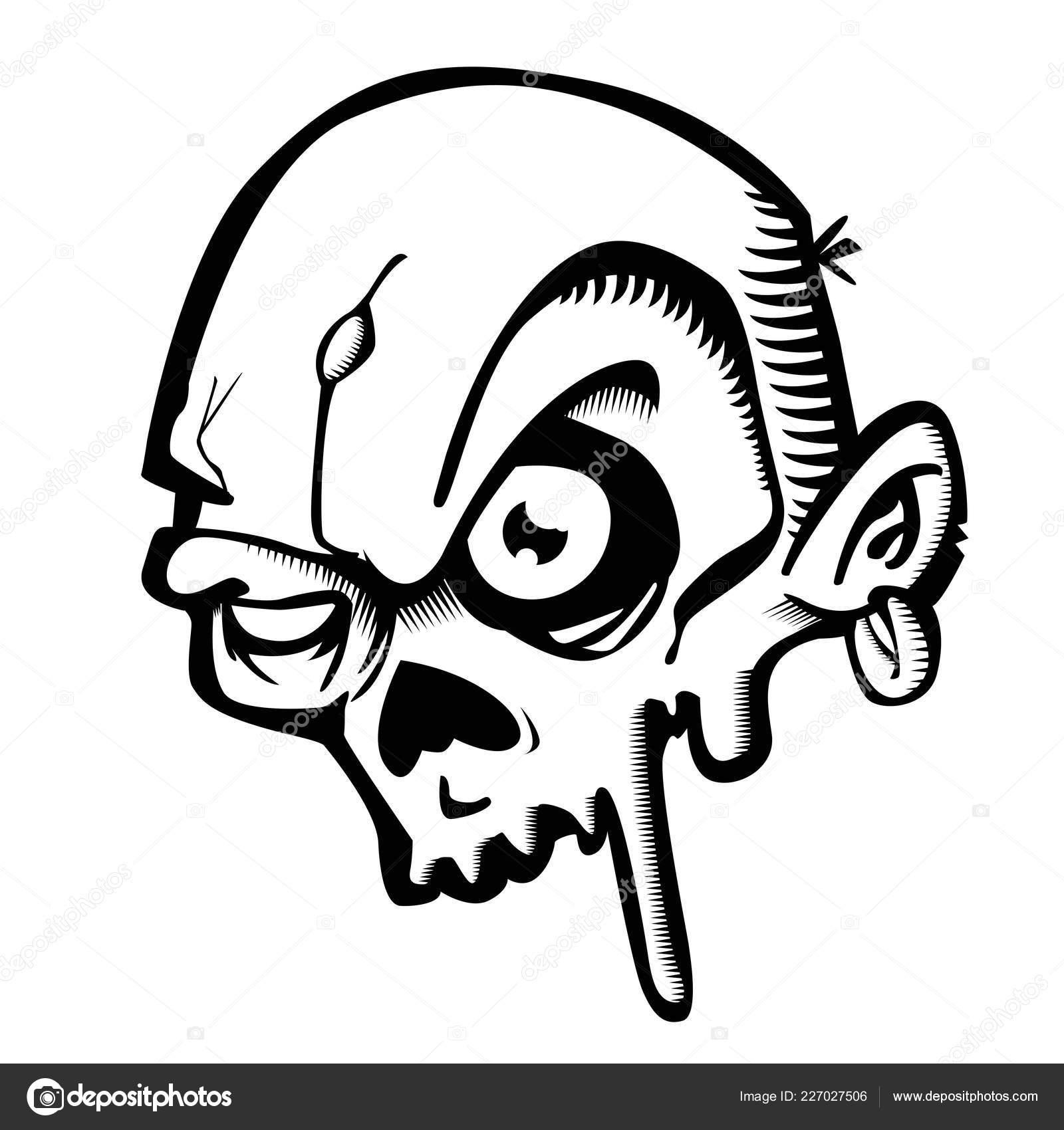 Black White Zombie Cartoon Stock Vector C Ainsel 227027506
