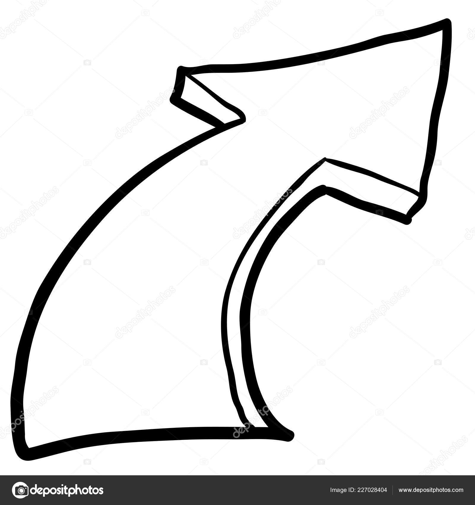 Dessin Main Levée Noir Blanc Simple Cartoon Flèche Image