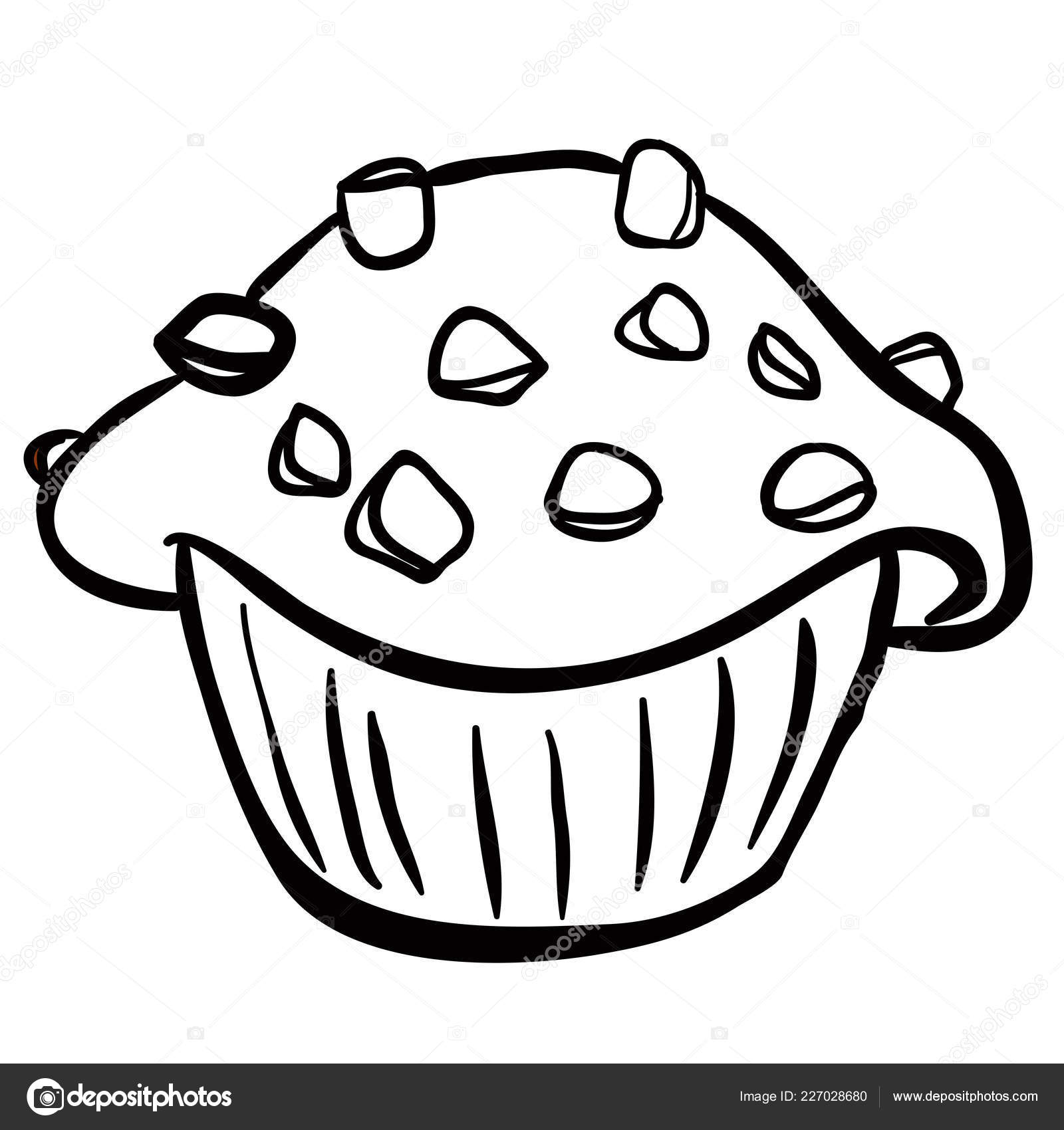 Vector White Chocolate Chips Black White Chocolate Chip Muffin Cartoon Stock Vector C Ainsel 227028680