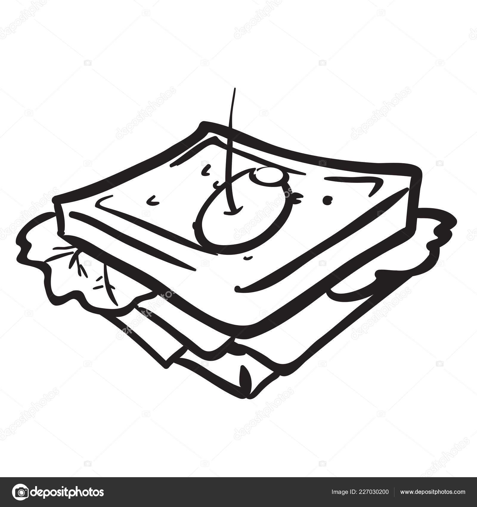 black white sandwich cartoon illustration stock vector c ainsel 227030200 depositphotos