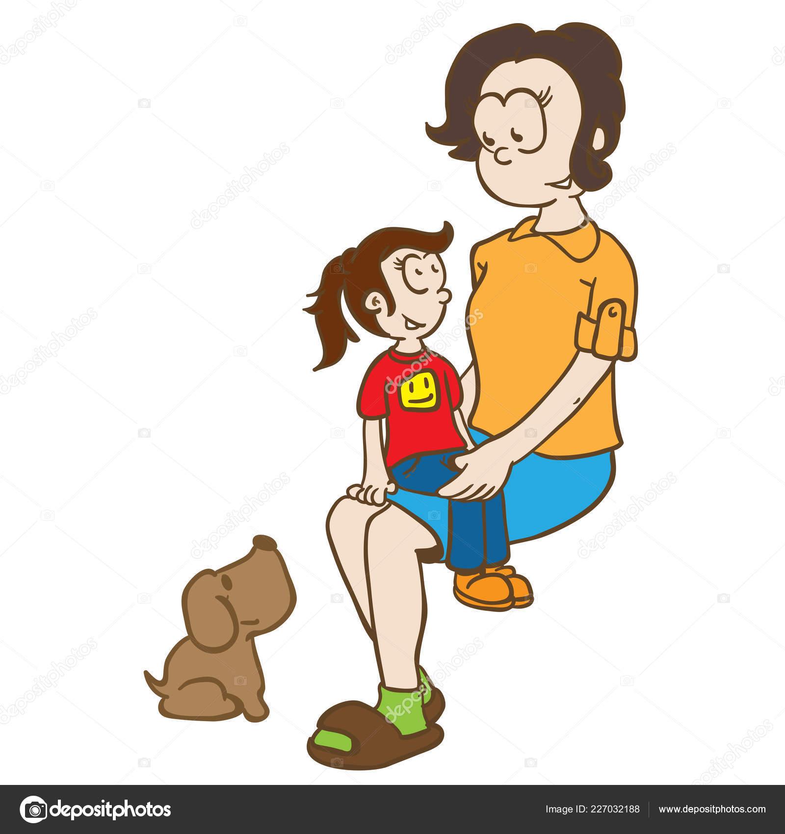 Ilustración Dibujos Animados Mamá Niña Perro Vector De Stock