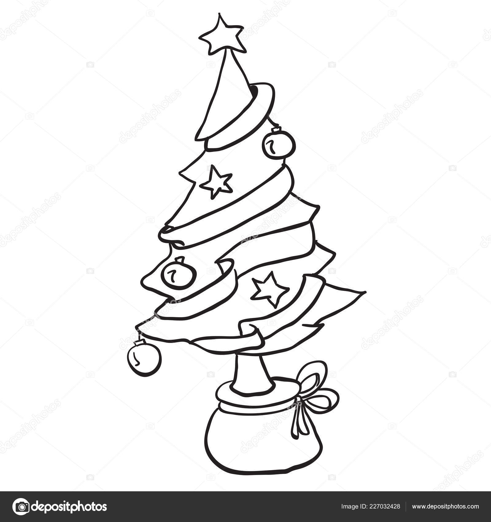 Arbre Noël Noir Blanc Simple Dessin Animé Image
