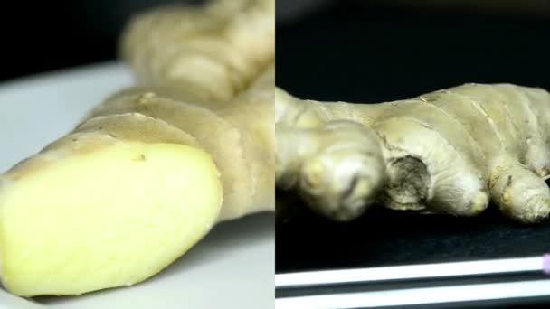 Fresh ginger root on turn table