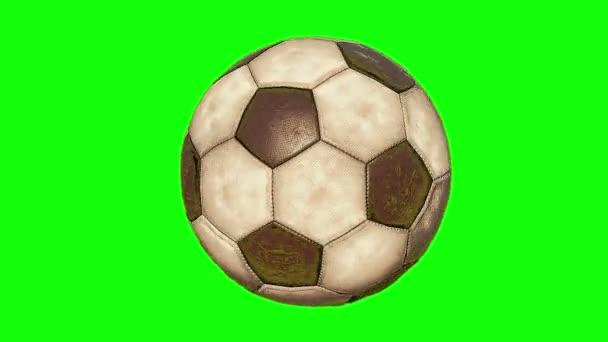 staré fotbalové míče rotace zelené obrazovky