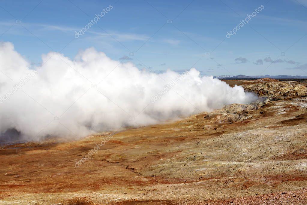 Gunnuhver geothermal area in Iceland. Geyser steam.