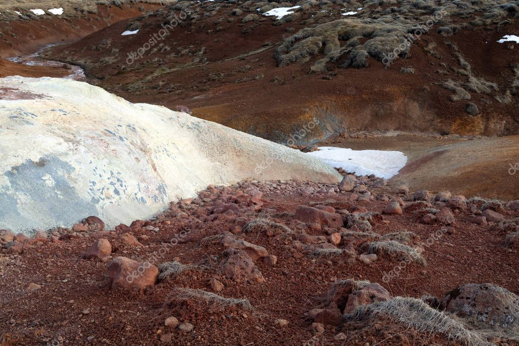 Seltun geothermal area in Iceland. Bubbling mud pools and steami