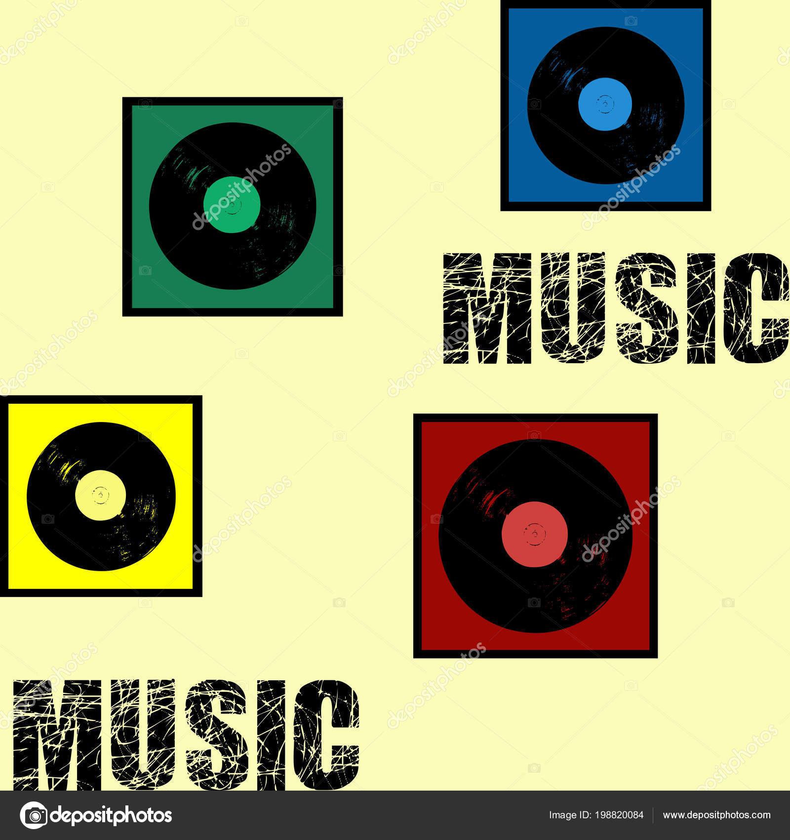 Ilustración Diseño Texto Estilo Retro Música Con Decoración