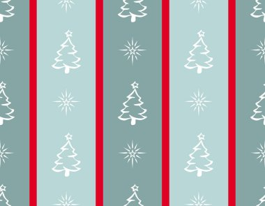 Merry Christmas illustration with Christmas trees and shiny stars decoration on red and light blue striped background